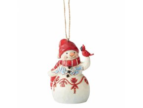 Mini Red and White Snowman (Ornament)