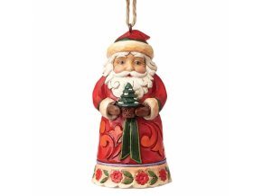 Mini Santa Holding Tree (Ornament)