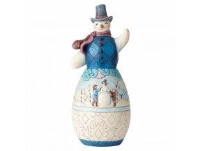 Snowman with Winter Scene