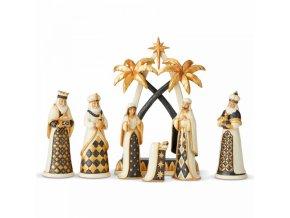 Let Us Adore Him (Black and Gold 7 Pcs Nativity Set) - Betlém