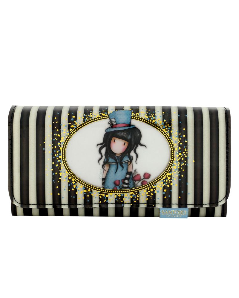 Gorjuss - Velká laková peněženka - The Hatter (Stripes Collection)