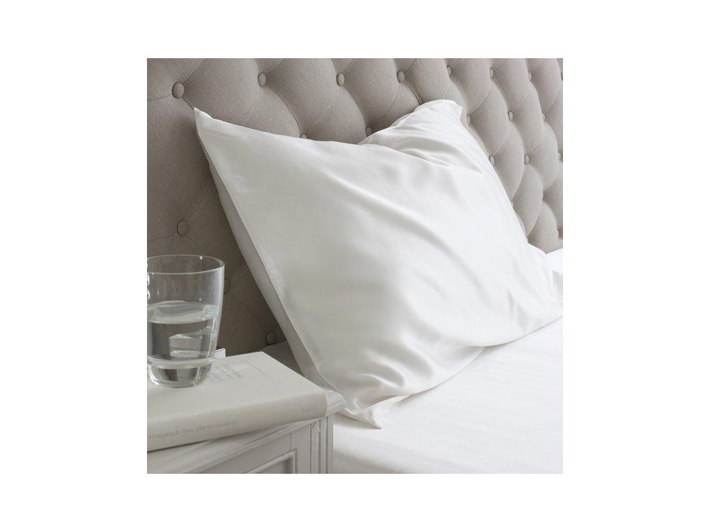 hedvábný polštář bílý LOVESILK