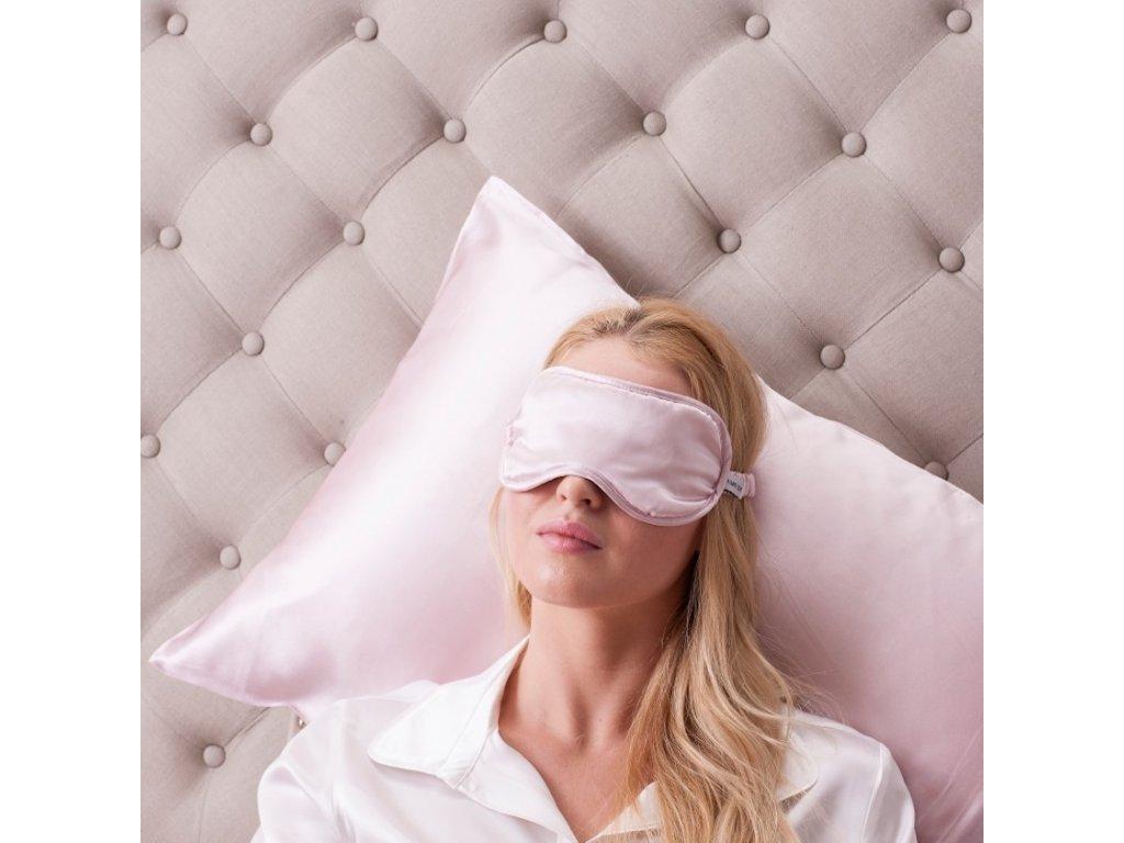relaxační hedvábná maska růžová LOVESILK