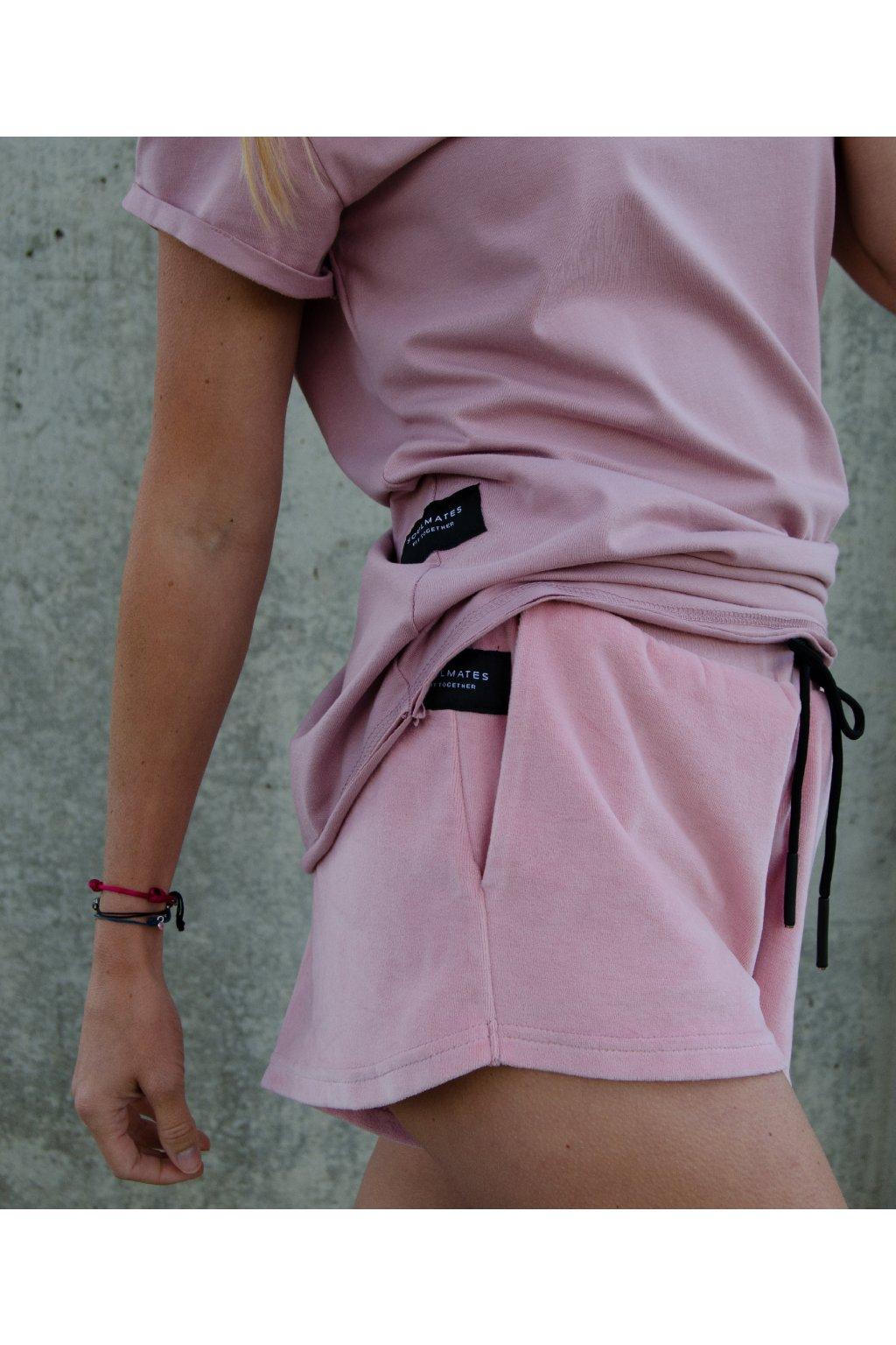 Kraťasy short (100% organická bavlna) růžová velur