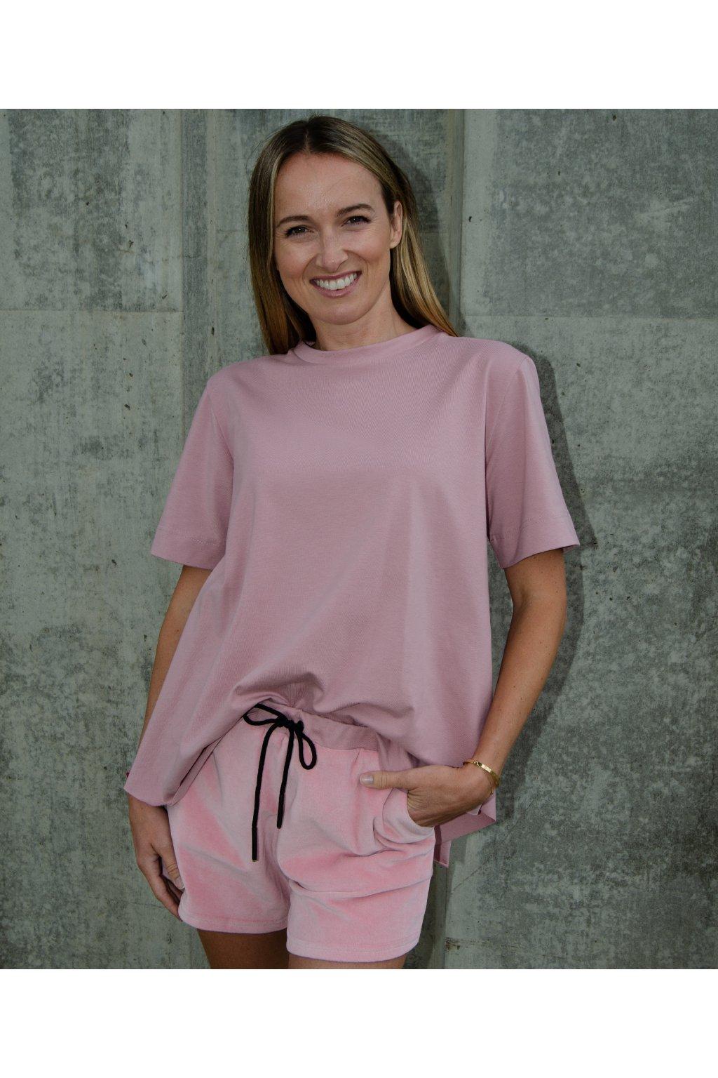 Kraťasy long (100% organická bavlna) růžová velur