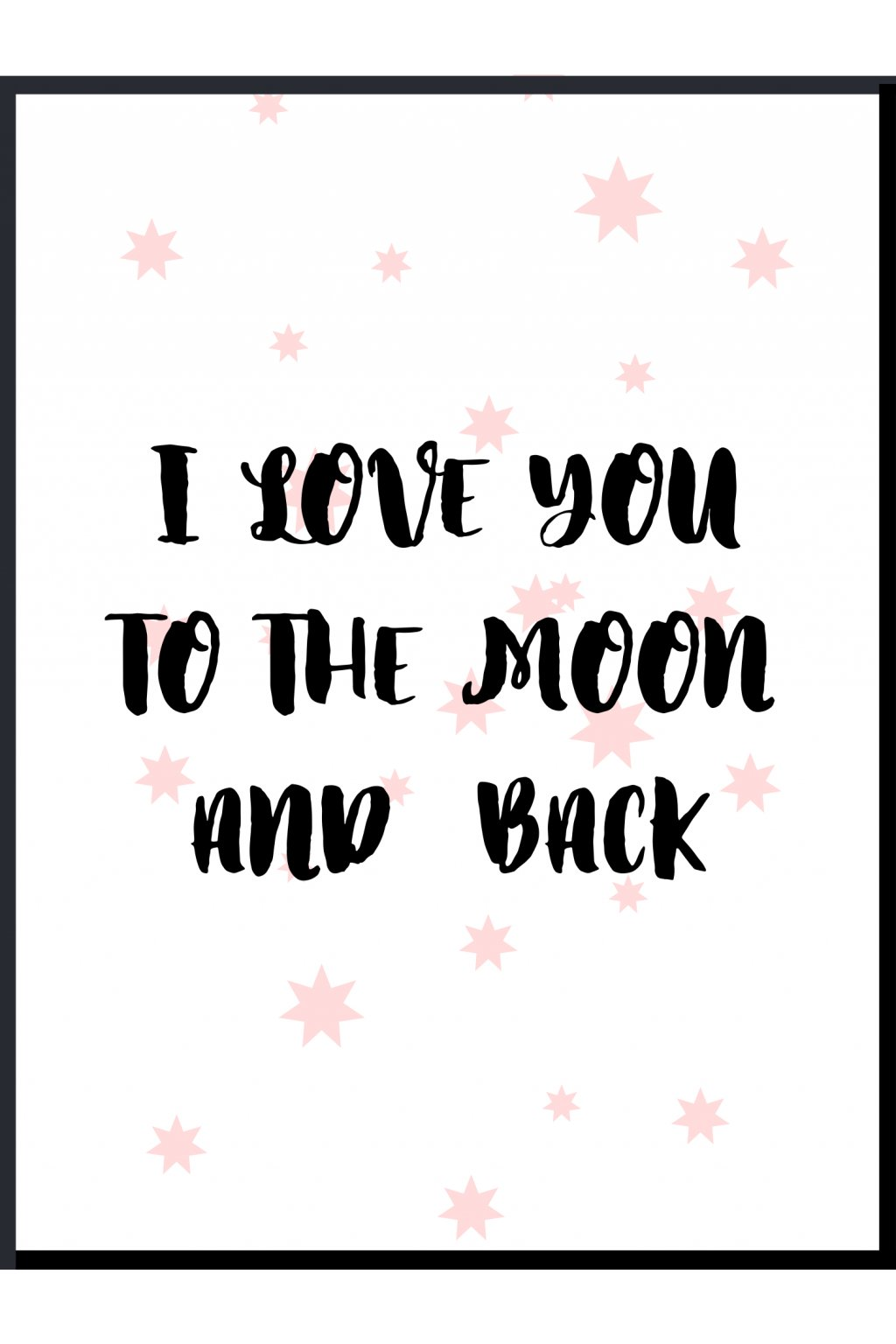 Plakát I love you to the moon pink