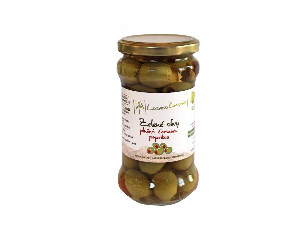 Zelené olivy s červenou paprikou malé