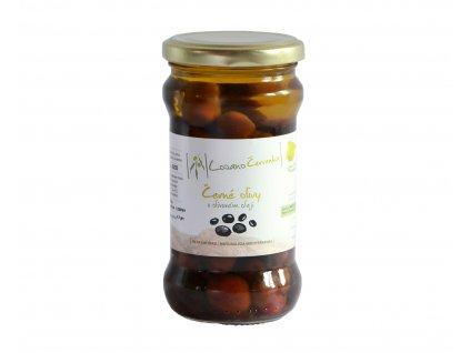 Černé olivy v olivovém oleji