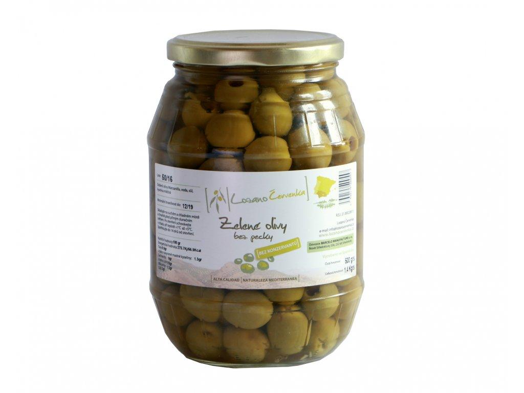 Zelené olivy bez pecky