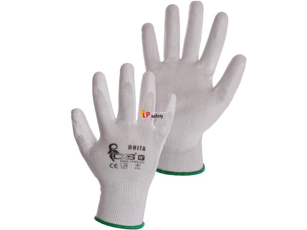 CXS BRITA WHITE polomáčané rukavice