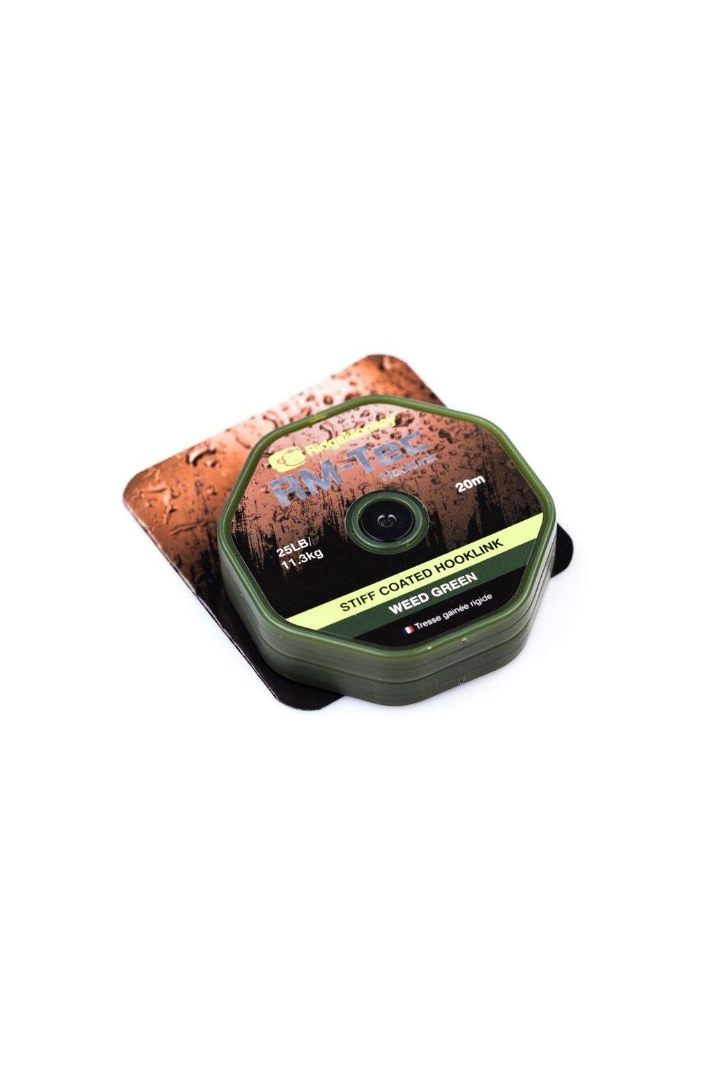 RidgeMonkey Šnůra RM-Tec Stiff Coated Hooklink 20m Zelená