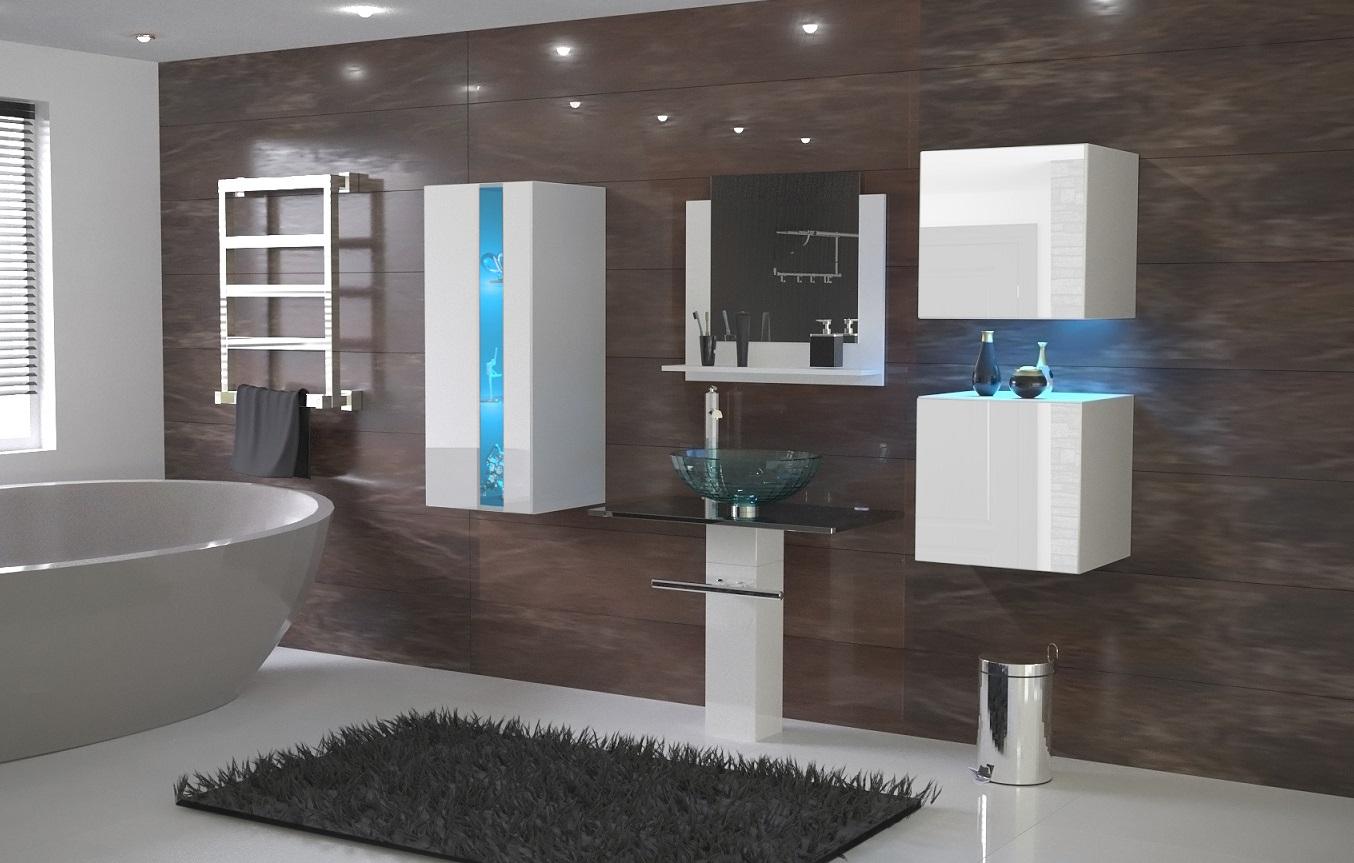 Levně Anral Koupelnová stěna Ali 15 - Bílý lesk