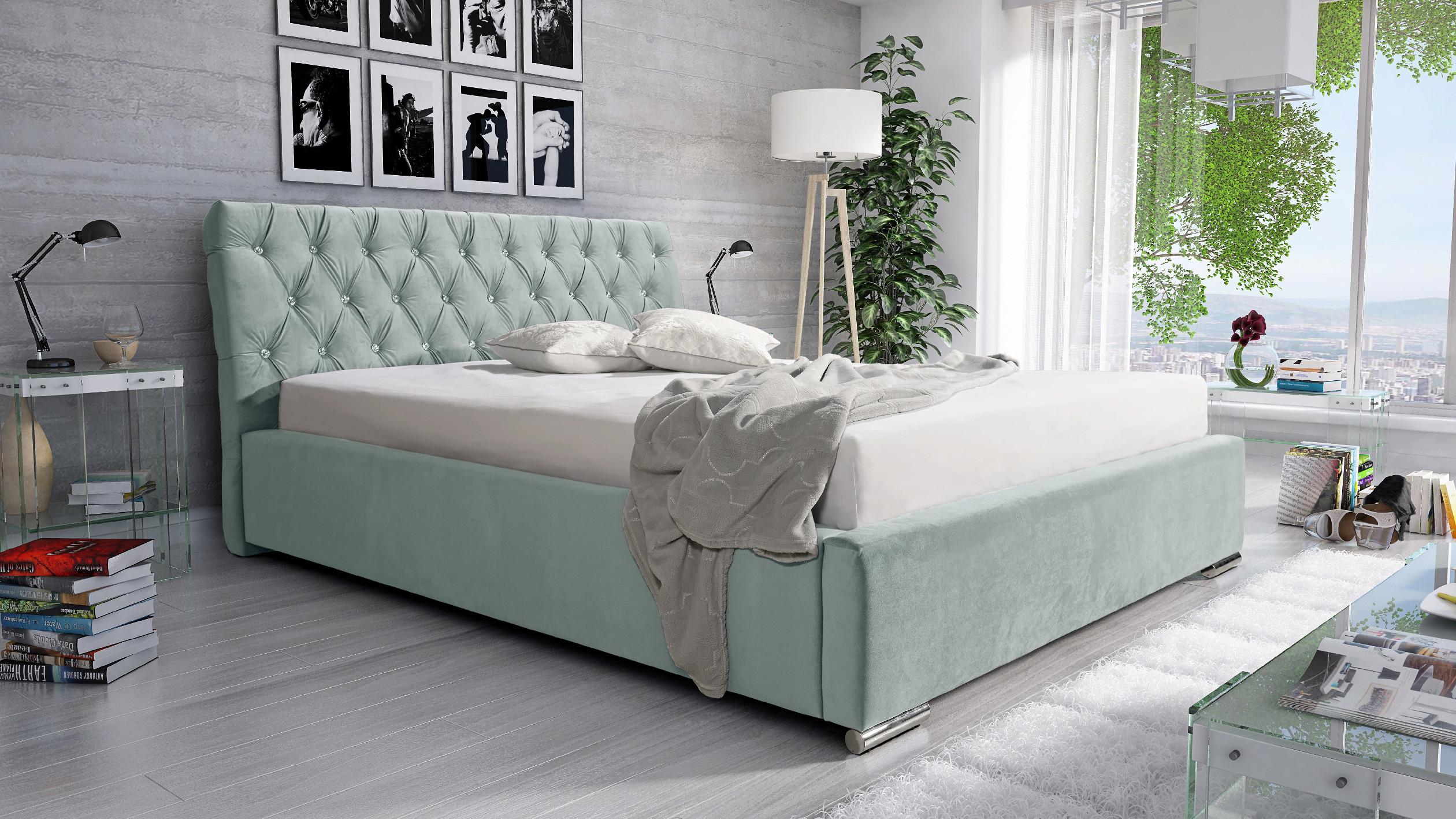 Levně Eka Čalouněná postel Luxurious 160x200 cm Barva látky Casablanca: Mintová (21)