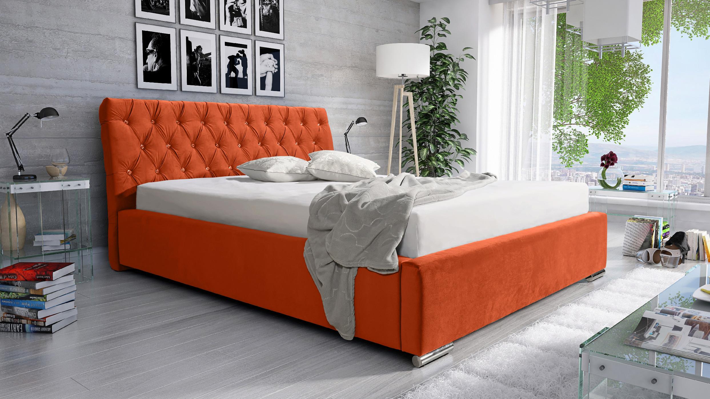 Levně Eka Čalouněná postel Luxurious 160x200 cm Barva látky Casablanca: Oranžová (17)