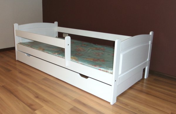 Dětská postel 180x80 cm Jan + šuplík + matrace - bílá