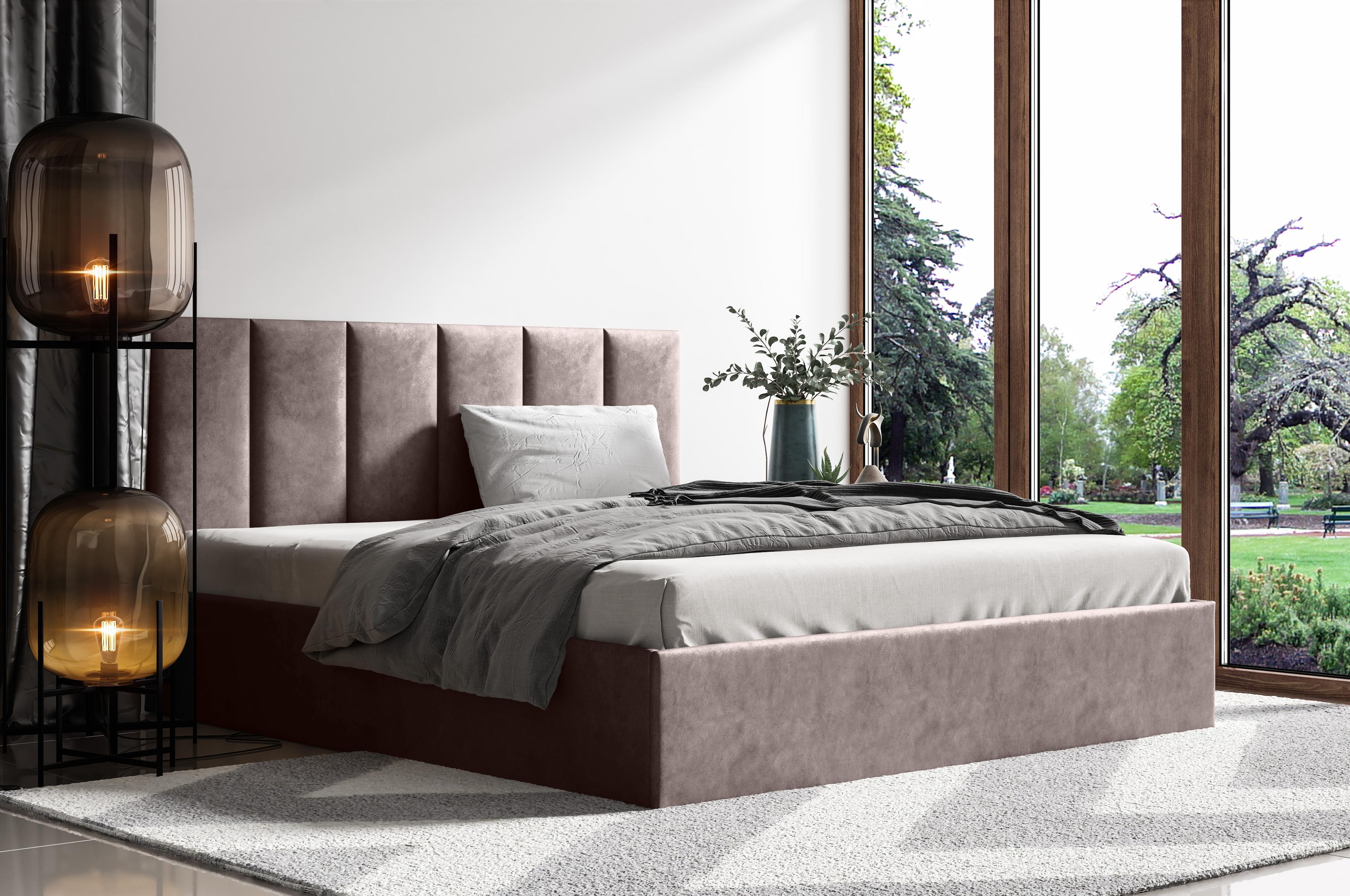 Levně Čalouněná postel Lucy 1 - 140x200 cm Barva látky Casablanca: Tmavá hnědá (08)