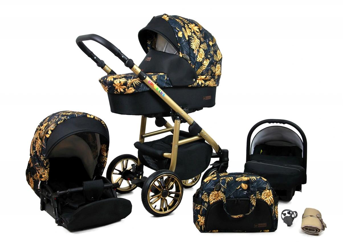 Raf Dětský kombinovaný kočárek Color Lux – 2v1 Barva kočárku Color Lux: Černá / zlaté listy
