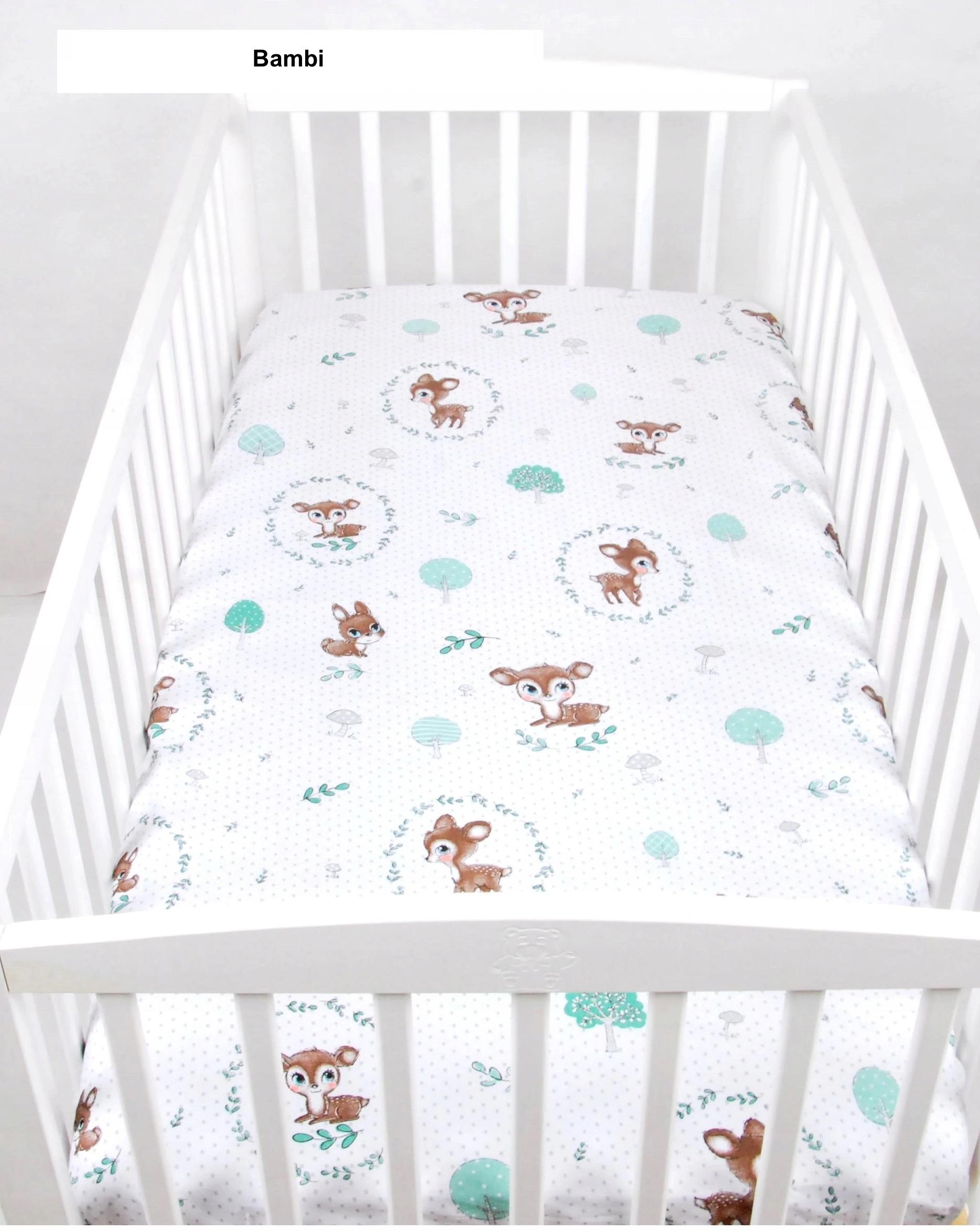 PupyHou Dětské prostěradlo do postele bavlna - 120 x 60 cm, Bambi