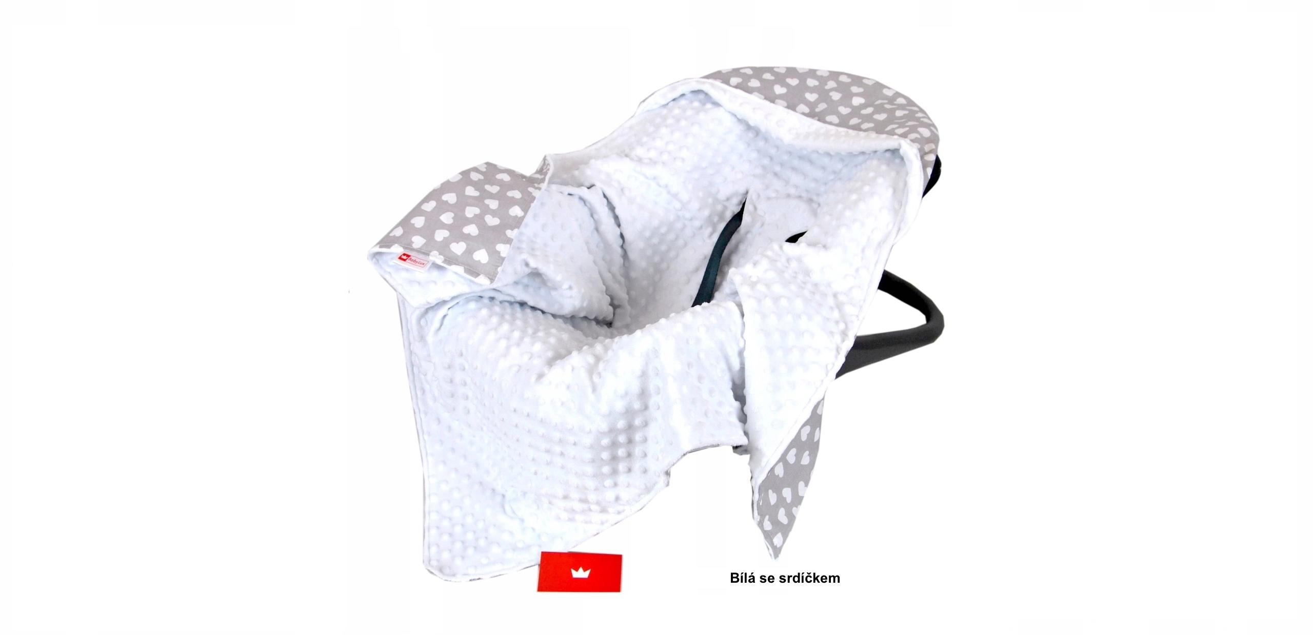 Nell Zavinovací deka do autosedačky - bílá - srdíčko