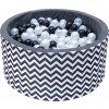 Dětský bazének s míčky - černo bílý zigzag - 200 ks míčků
