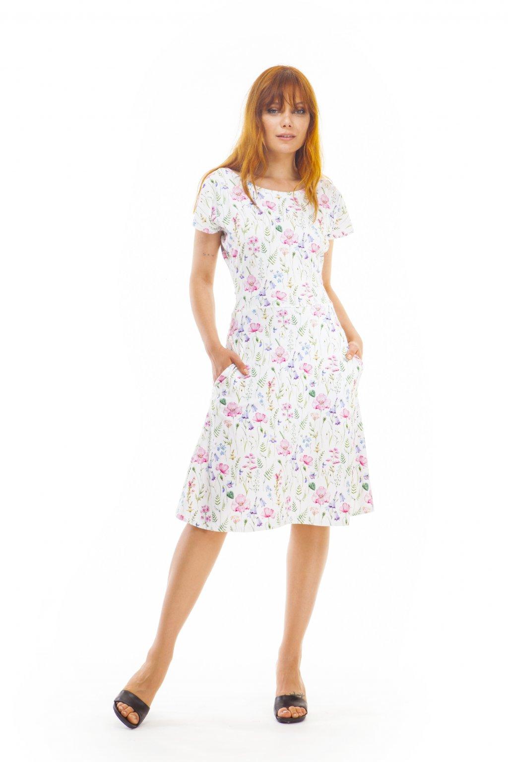 Šaty s lučními květy do A s přestřiženým pasem 1