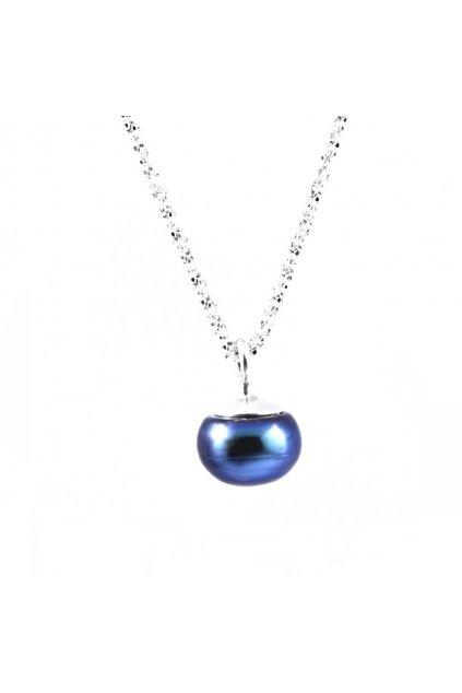 Stříbrný řetízek s modrou říční perlou