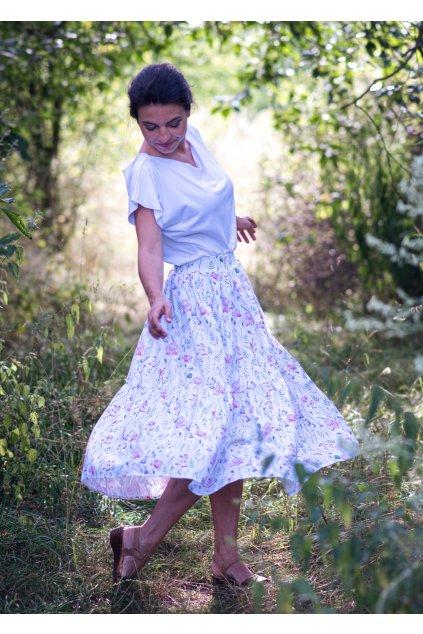 Letní nabíraná sukně s lučními květy a kapsami