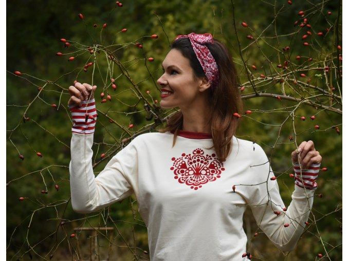 Mikina Cream Ornament Red