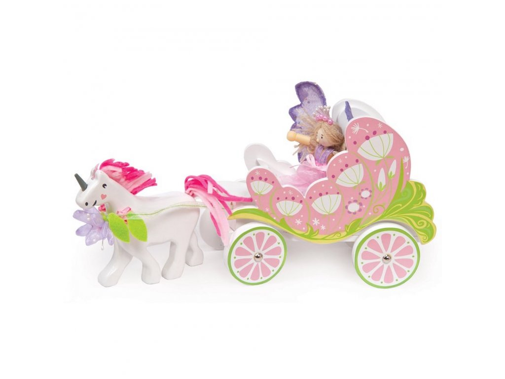 TV642 Pink Fairy Unicorn Princess Carriage Wooden