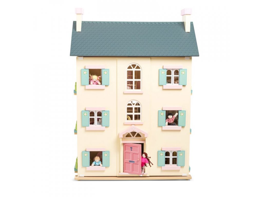 H150 Cherry Tree Hall Grey Pink Cream Large Wooden Dolls House Front Family