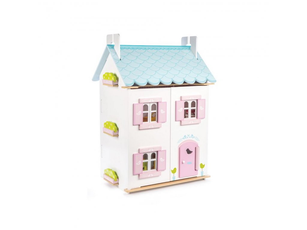 H138 Blue Bird Pink White Wooden Dolls House Furniture