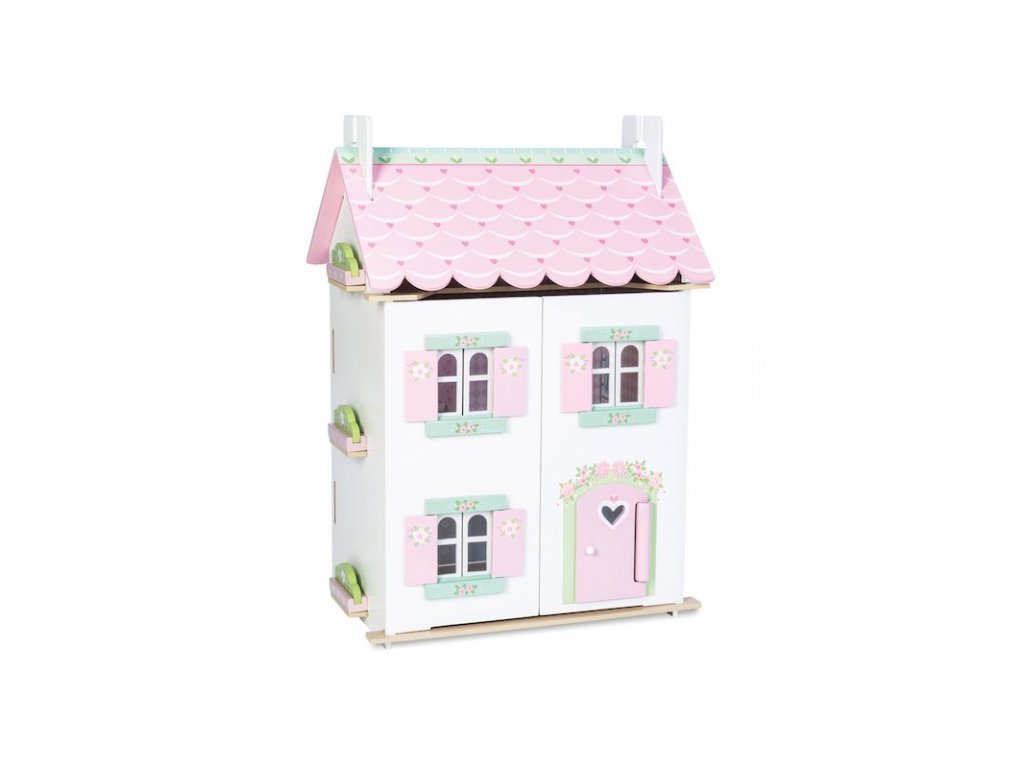 H126 Sweetheart Cottage Pink White Wooden Dolls House Furniture