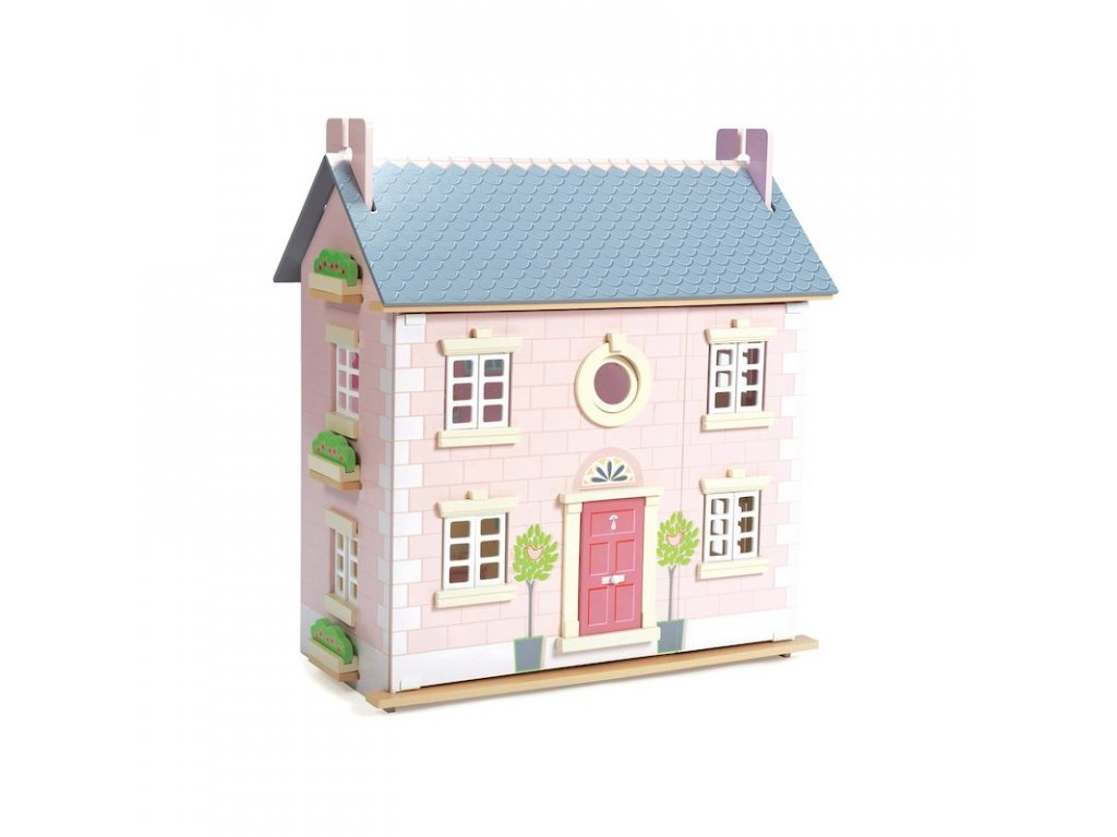 H107 Bay Tree Pink Grey Wooden Dolls House 3years Kids Girl