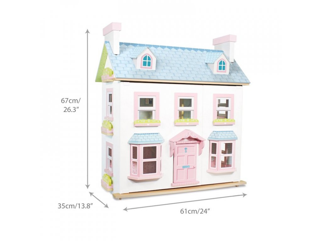 H118 Mayberry Blue Pink Wooden Dolls House Front