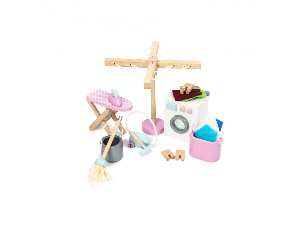 ME038 Laundry Room Dolls House Washing Cleaning Wooden Toys