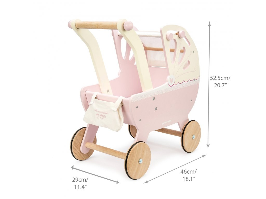 TV322 Pram Pink Wooden Toy Pushchair Dolly Buggy Side2