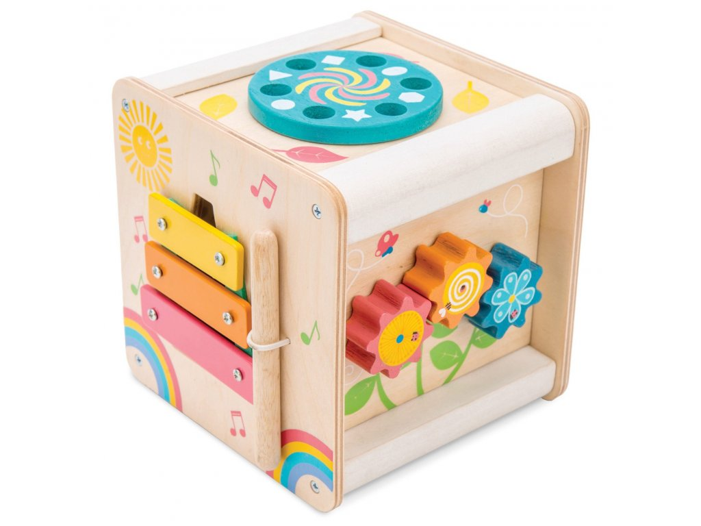 PL105 Petit Activity Cube Interactive Musical Learning Wooden Toddler Toy