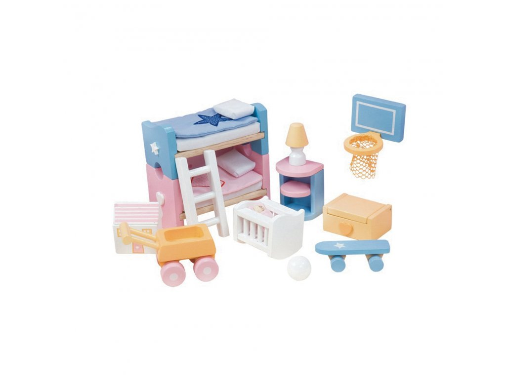 ME054 Sugar Plum Children Bedroom Blue Pink Bunk Wooden Dolls House Furniture
