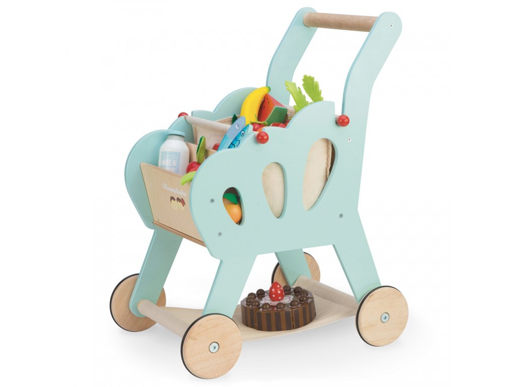 TV316 Shopping Trolley Blue Market Wooden Toy