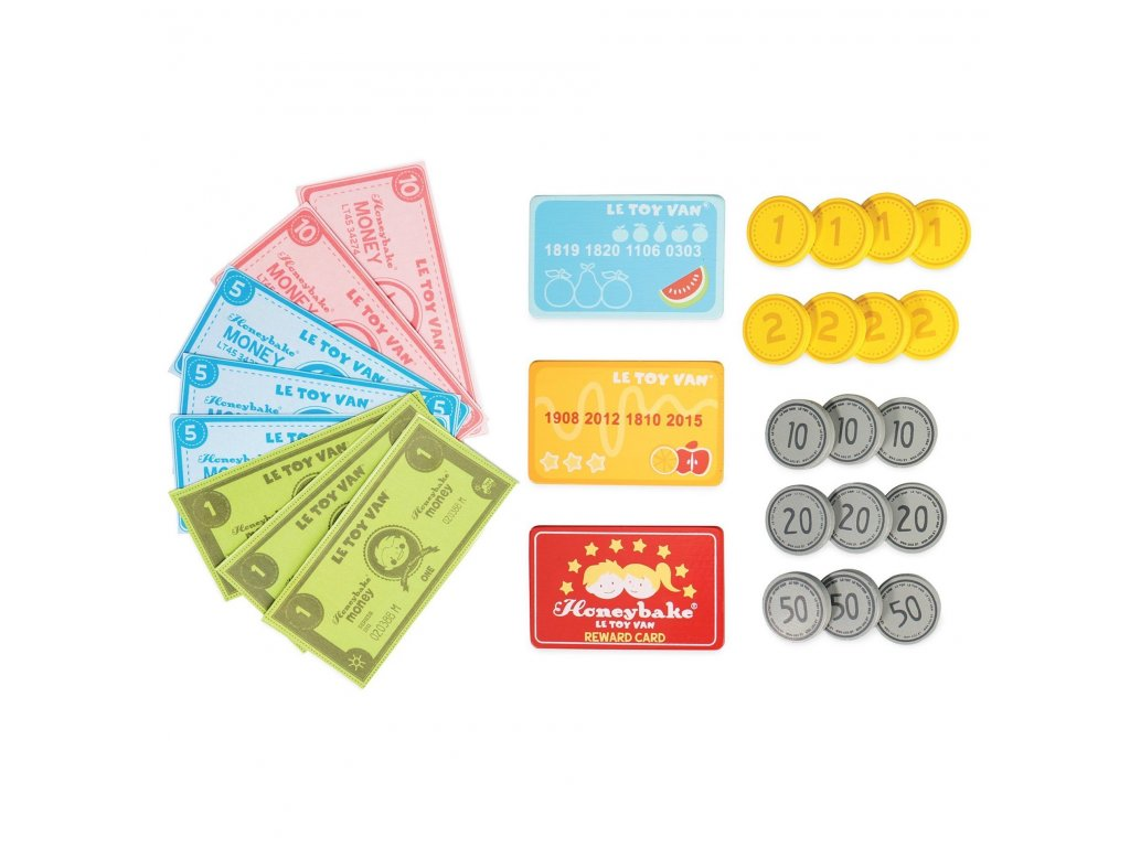 TV319 Money Notes Wooden Cash Coins Cards Play Pretend