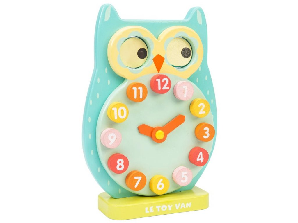 PL010 Blue Owl Wooden Clock Toy 900x