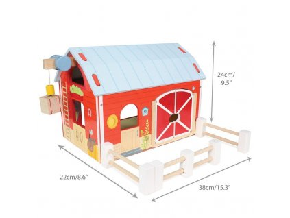 TV417 Red Barn Farm Fence Wooden Play Set