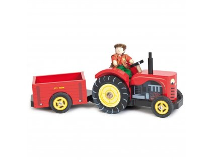 TV468 Bertie Red Tractor Farm Farmer Wooden Toy