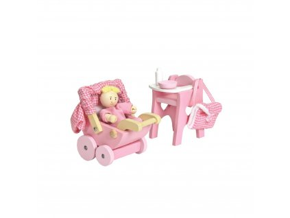 ME044 Nursery Set Pink Buggy High Chair Dolls House Furniture