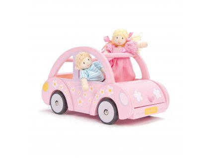 ME041 Sophie Pink Wooden Toy Car Luggage Dolls