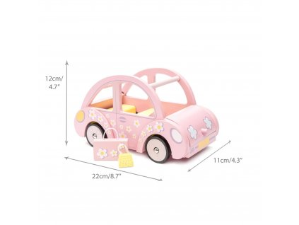 ME041 Sophie Pink Wooden Toy Car Dolly Luggage Front