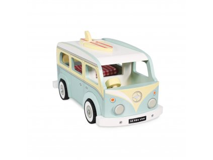 TV478 Holiday Campervan Blue Retro Wooden Surf Board