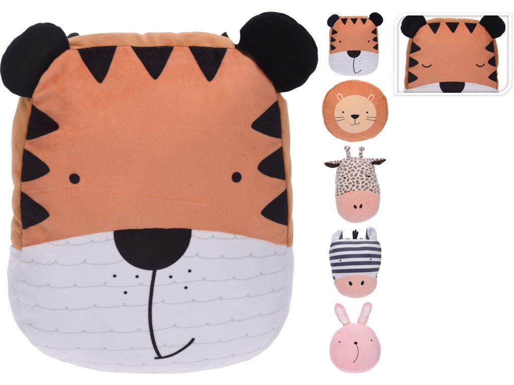 Dětský dekorační polštář Animals 40cm (tygr, lev, zebra, žirafa, králík)