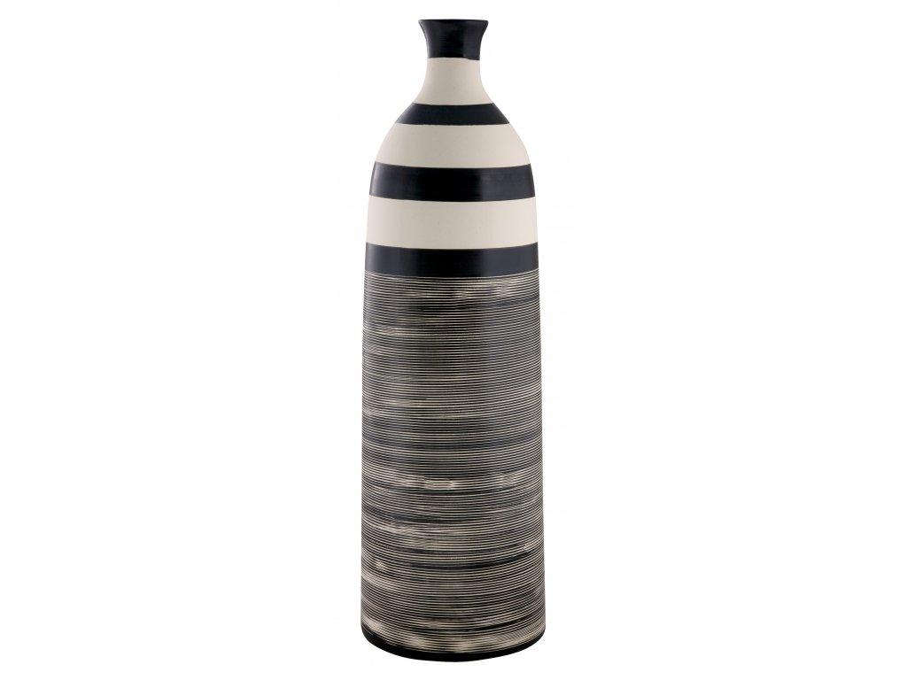 Váza Ethno (13,5x44cm), bílá/černá