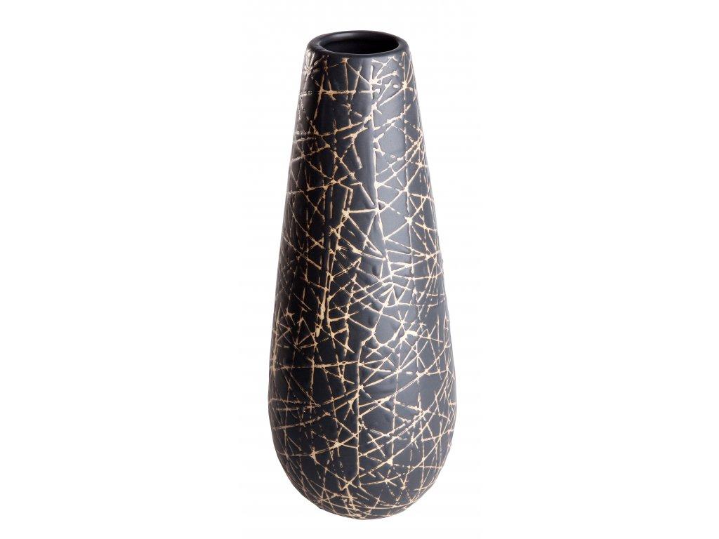 Váza Native (14X34cm), černá/smetanová